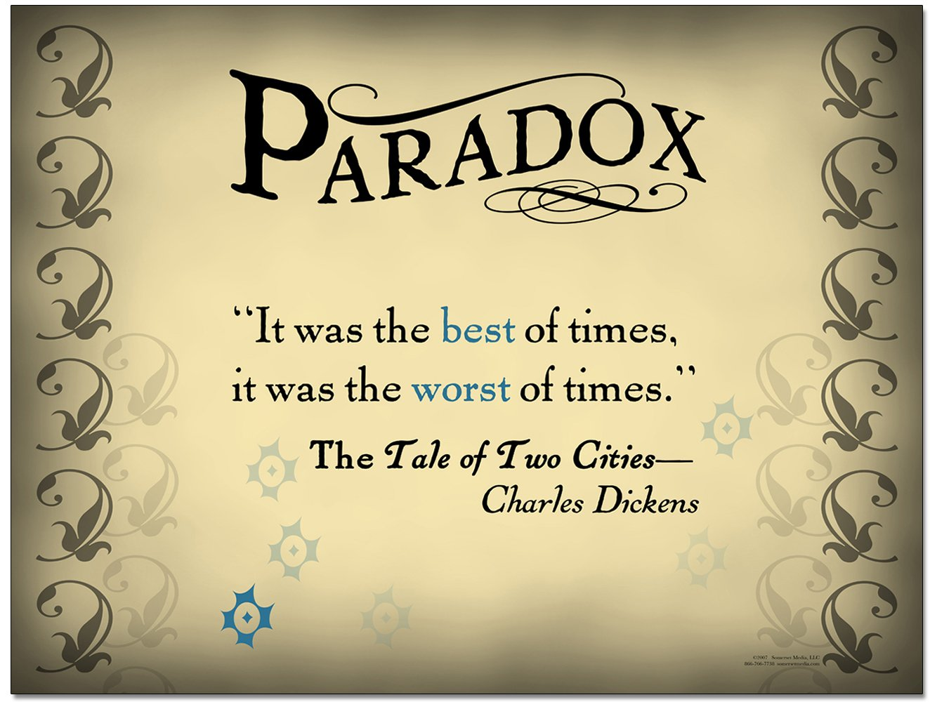 """Literary Tools: Paradox English Literature Poster featuring a quote from """"A Tale of Two Cities"""" by Charles Dickens. Laminated Educational Art Print"""