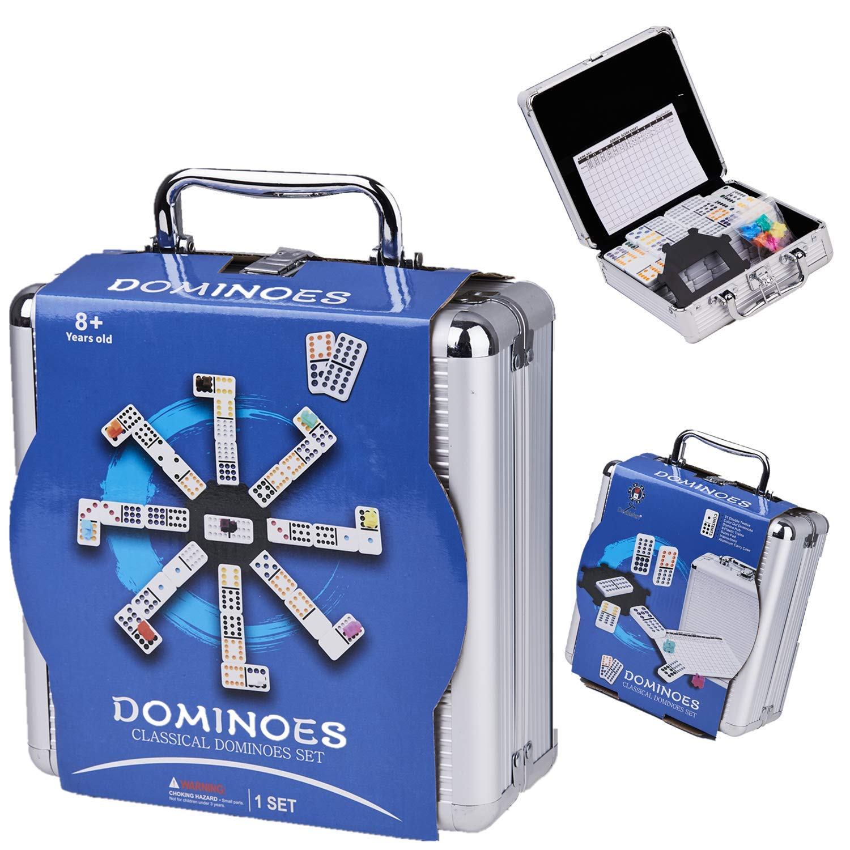 Doublefan Dominoes Set - Mexican Train Dominoes Double 12 Dominoes Set 91 Tiles with Aluminum Case