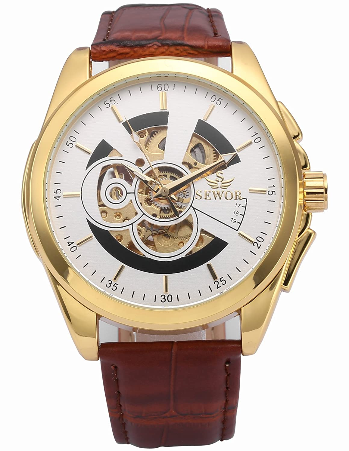 dfcfbc28dc53c Amazon.com  HELMASK watch - Synthetic Leather Brown Round man mens Analog  Mechanical Automatic Wrist Watch  Watches