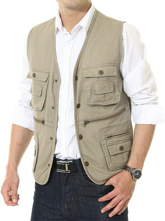 APTRO chaleco 100% algodón con varios bolsillos para hombre