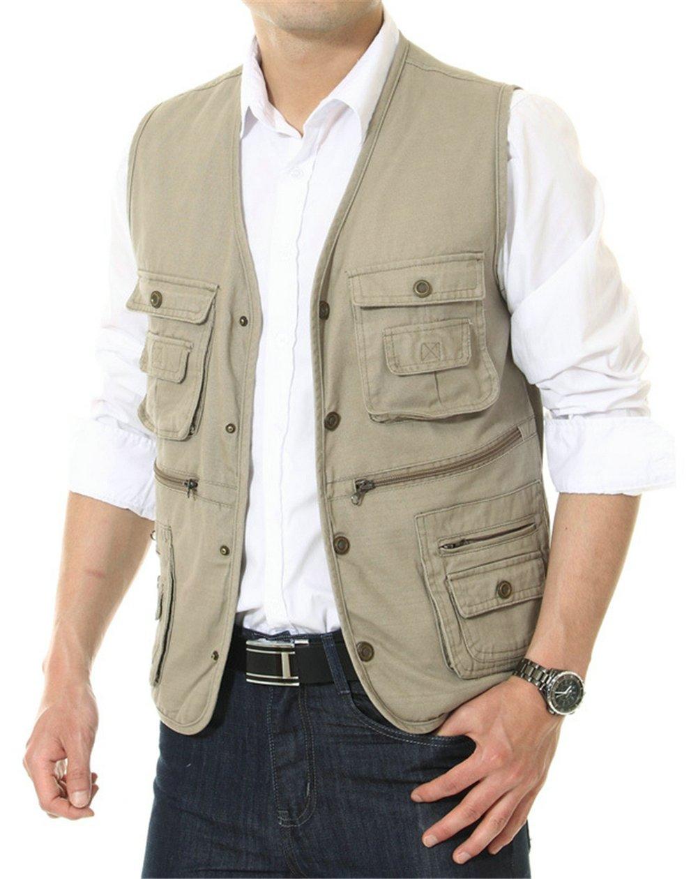APTRO Men's 100% Cotton Outdoor Multi Pocket Vest Khaki US XL (ASIN TAG 4XL)