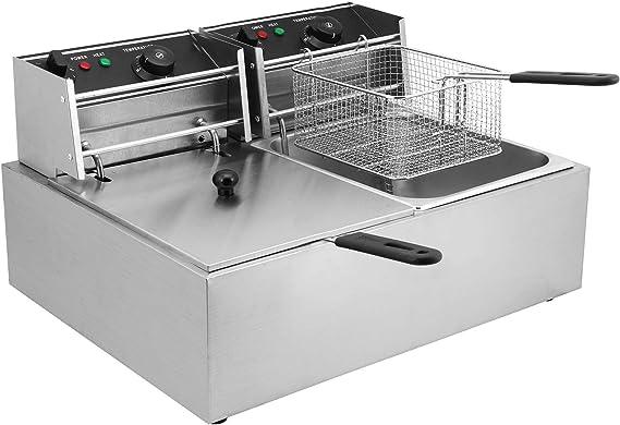 Moracle Freidora Eléctrica de 5000 W Capacidad Profesional Sartén de 12 litros Sartén para Patatas Fritas con Dos Cubas y Temporizador: Amazon.es: Hogar