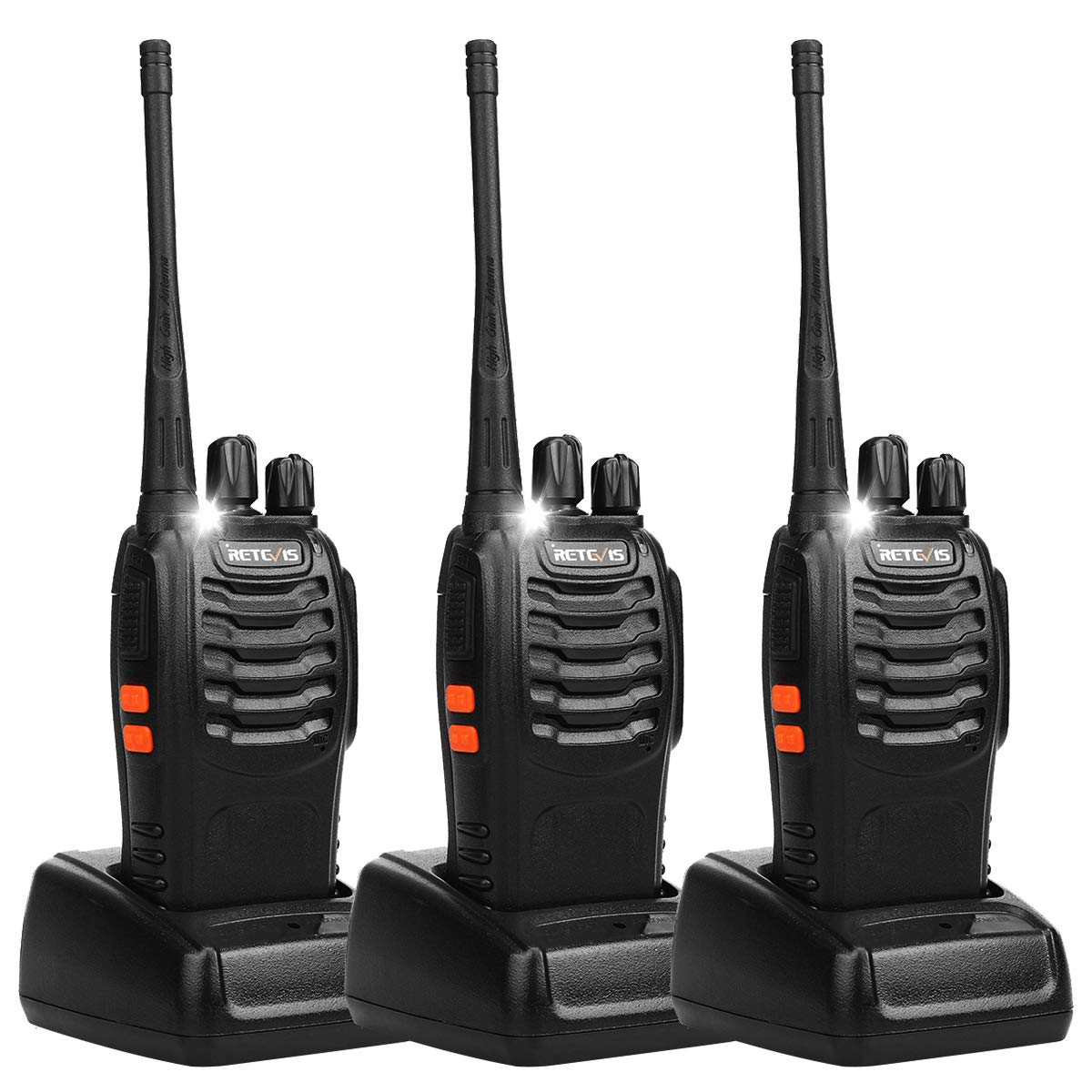 Retevis H-777 Two Way Radios Long Range UHF Rechargeable 16CH CTCSS/DCS Flashlight Walkie Talkies with USB Charger (3 Pack) by Retevis