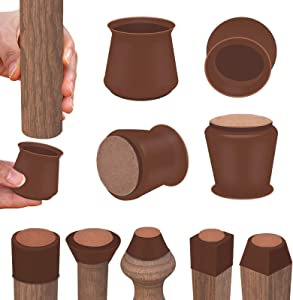 Silicone Chair Leg Floor Protectors with Felt, Free Moving Table Leg Covers, Prevent Floor Scratches and Reduce Noise 24Pcs (Small, Dark Walnut)