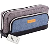 Canvas Pencil Case, Fuyao 3 Pockets Large Capacity Office School Stationery Pen Bag Pencil Holder Cosmetics Pouch Coin Purse for Teenage Boys Girls Gift (Grey)