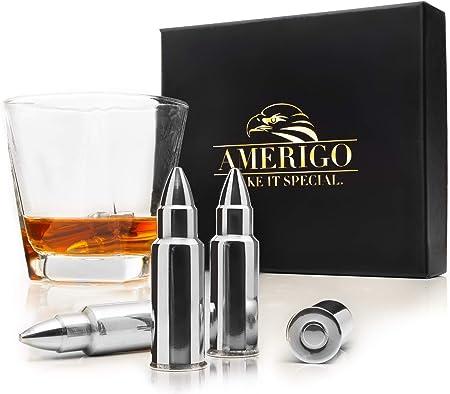 ✔️EL SET CON PIEDRAS PARA EL WHISKY CON FORMA DE BALA INCLUYE: 6 Piedras para el Whisky con Forma de