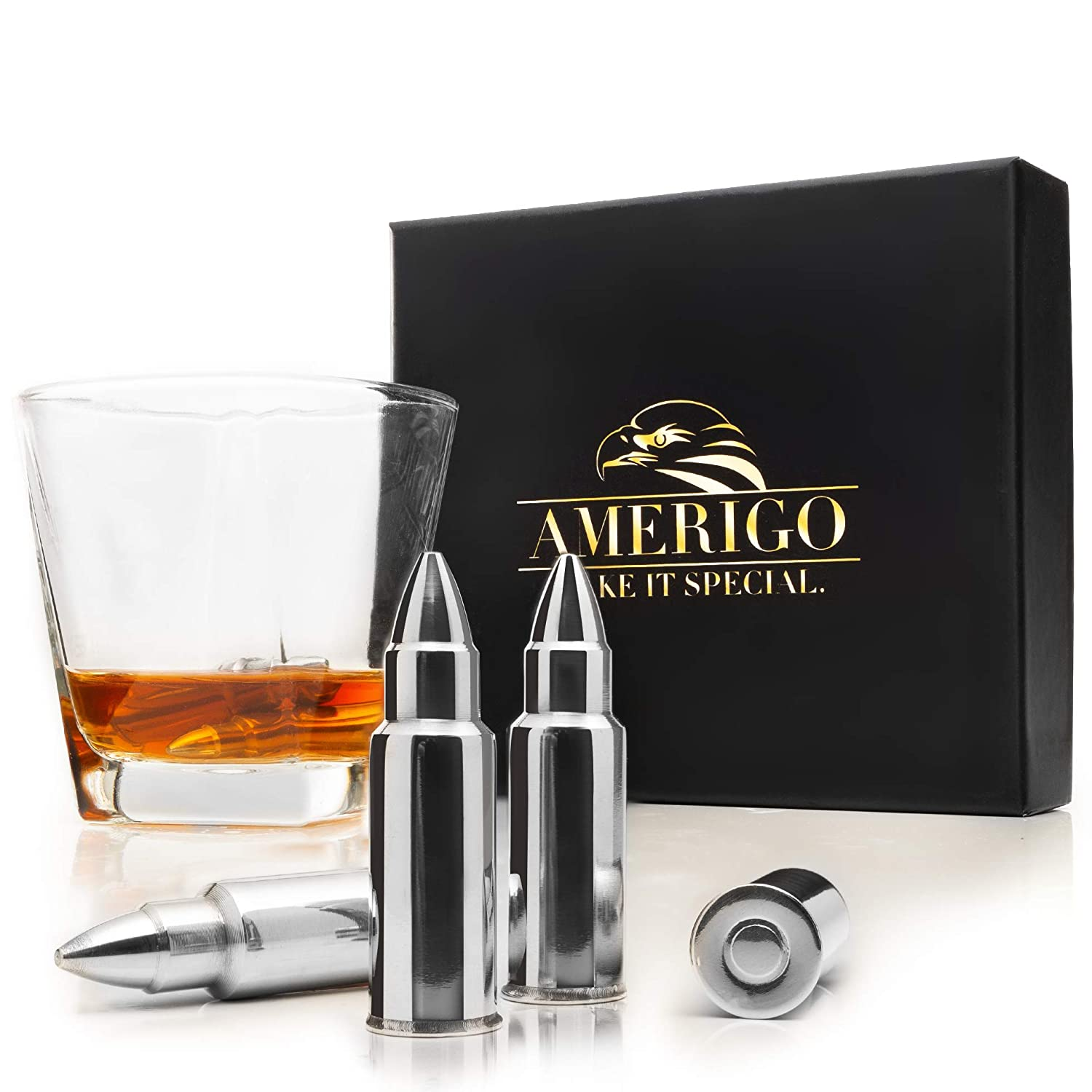 Whiskey Stones Bullets with High Cooling Technology - Stainless Steel Whiskey Bullets - Reusable Ice cubes - Best Gift for Men - Set of 6 Whiskey Ice Cubes + Ice Tongs - Whiskey Stones Gift Set Amerigo