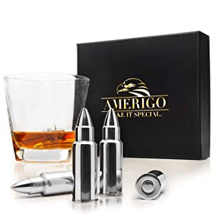 Whiskey Stones Bullets with High Cooling Technology - Stainless Steel Whiskey Bullets - Reusable Ice cubes - Best Gift for Men - Set of 6 Whiskey Ice Cubes + Ice Tongs - Whiskey Stones Gift Set