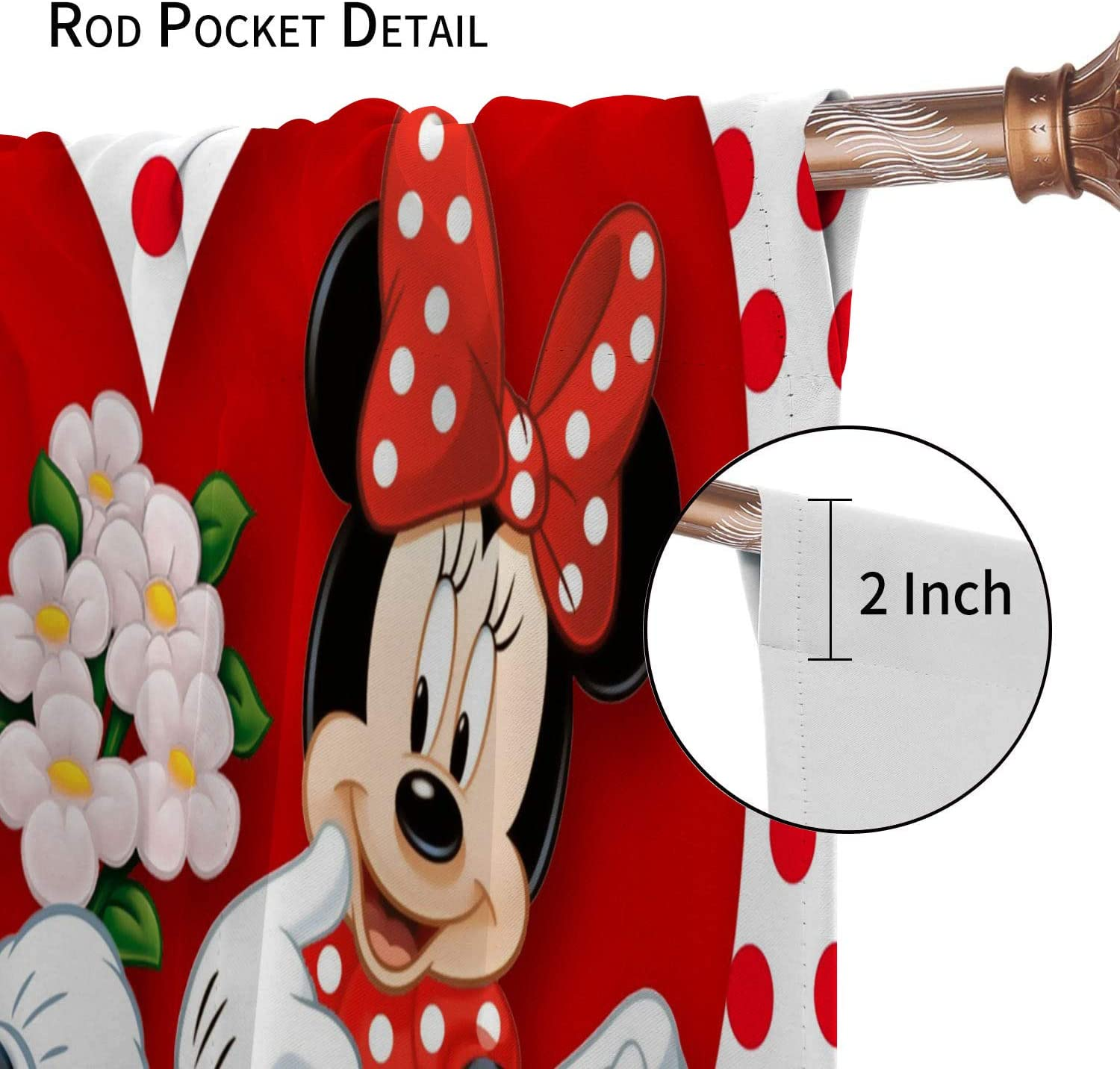 Roman Curtain Mickey Minnie Mouse Thermal Insulated Short Curtain Artful Design Privacy Protection 23 x 64 Inch
