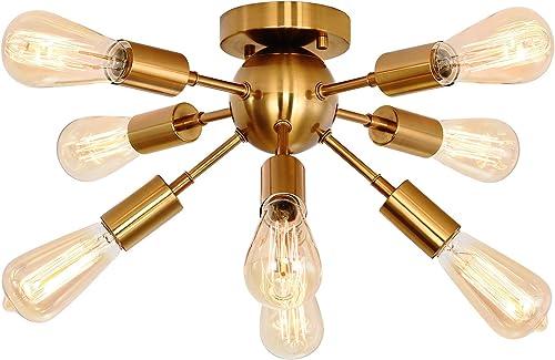 Sputnik Chandelier,8-Light Semi Flush Mount Ceiling Light Fixture Modern Pendant Lighting Fixture Industrial Vintage Hanging Dining Room Light