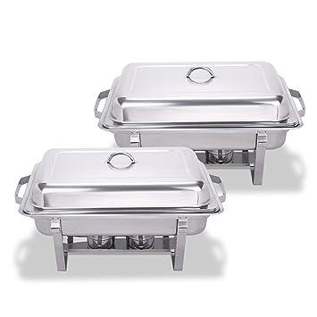 Edelstahl 2er Set Chafing Dish Speisenwärmer 16 tlg