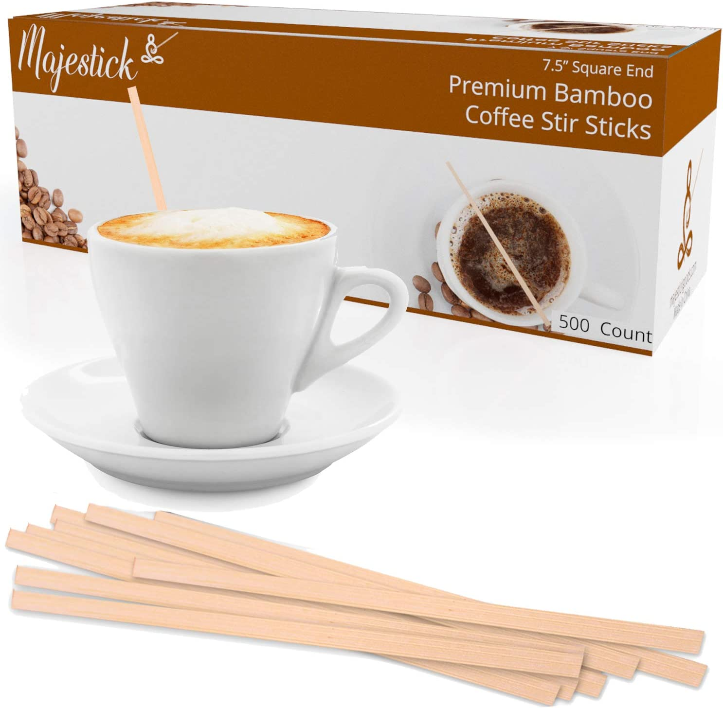 Package 1 7.5 Inch Box of 500 Wood Coffee Beverage Stirrers