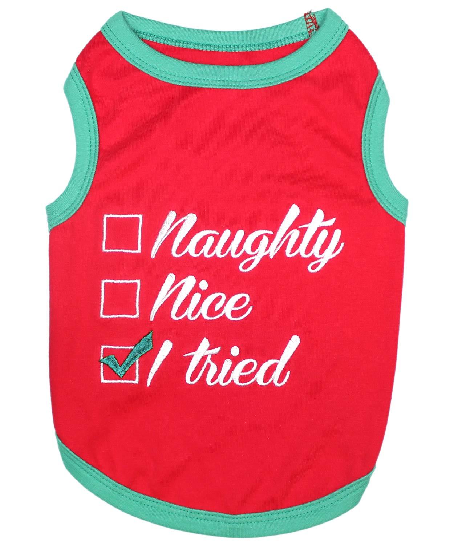 XL Parisian Pet Funny Christmas Holiday Dog Cat Pet Shirts Tee Tanks Naughty or Nice, Santa Outfit, Elf Size, Santa's Helper, Sorry Santa I Ate Your Cookies (Naughty or Nice, XL)