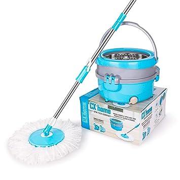 Spin Mop Easy Wring, sistema de limpieza, CXhome 360 Spin Mop de acero inoxidable con cubo, trapeador seco y húmedo con 2 cabezales de microfibra lavables: ...