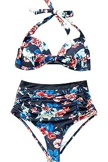 3fdc0e9ace CUPSHE Women's Faint Fragrance Printing High-Waisted Halter Bikini Set  Swimsuit Beach Swimwear Bathing Suit