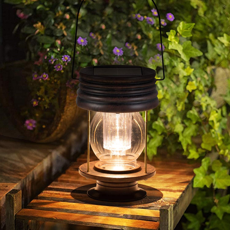 "pearlstar Solar Lantern - Hanging Solar Lights Outdoor - 8.3"" Large Solar Powered Waterproof Lanterns 30 Lumen, 1 Pack Vintage Design for Yard, Garden, Pathway, Table Decoration (8.3"" Warm Lights)"