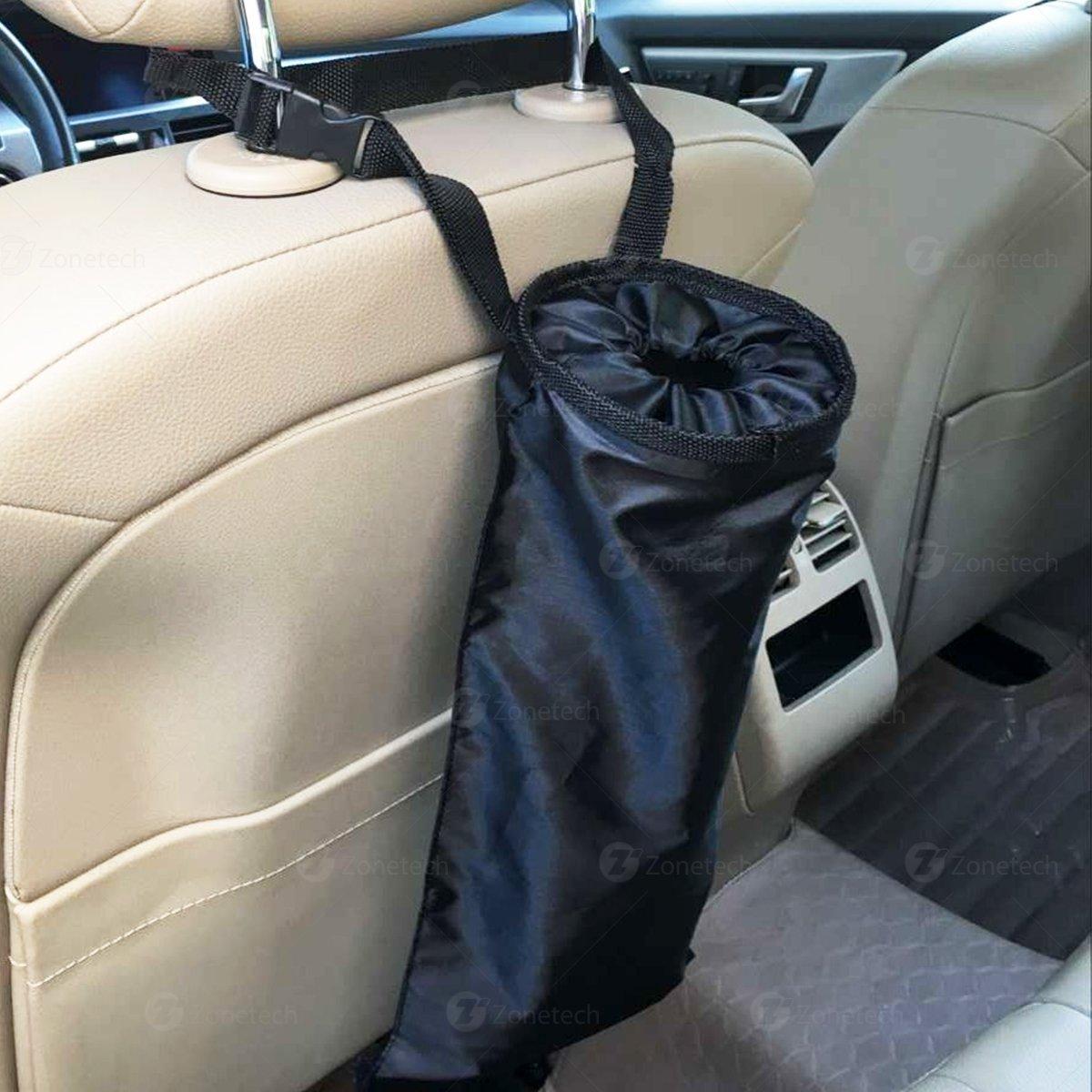 Car Interior Trash Can Black Headrest Leakproof Traveling Garbage Bag-Seatback Universal Litter Bag