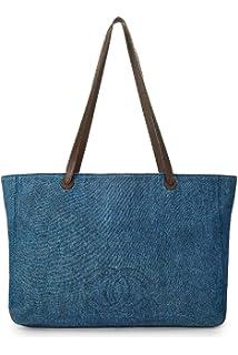 9058d0641d8b CHANEL Blue Denim Boston Large (Pre-Owned): Handbags: Amazon.com