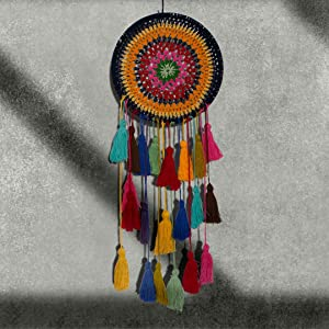 Hand Knitted Boho Dream Catcher With Tassels Decorative Wall Hanging Ornament Craft Wedding Birthday Party Favor Home Decor For Bedroom Nursery For Boys Girls Kids Traditional Handmade 8 Inch