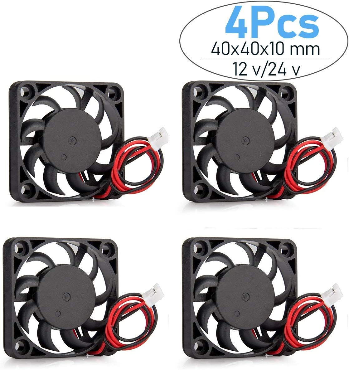 Helonge Cooling Fan,4 Pcs DC 12/24V Small Cooling Fan, 40x40x10mm, with 2 Pin Terminal for 3D Printer, Computer, CPU Chip, and Arduino (24V/0.1A)