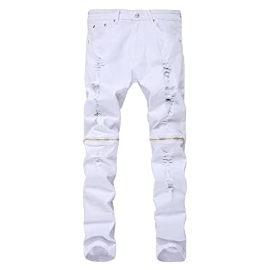 1728fcf7b339 ANN Men's Skinny Ripped Distressed Destroyed Straight Fit Zipper Denim Jeans ,White,