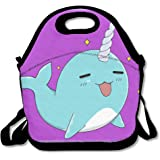 Cute Narwhal Lunch Box Bag For Kids And Adult,lunch Tote Lunch Holder With Adjustable Strap For Men Women Boys Girls,This Design For Portable, Oblique Cross,double Shoulder