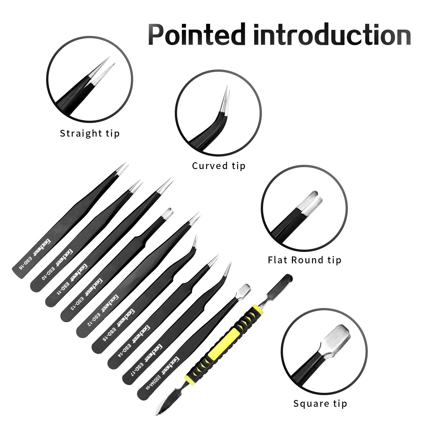 Tweezers,Gocheer 10pcs Tweezers Kit-Anti-Static Stainless Steel Precision ESD Tweezers Set with crowbar repair tool kit for electronics, jewelry making, industrial and precision work,soldering (Black)