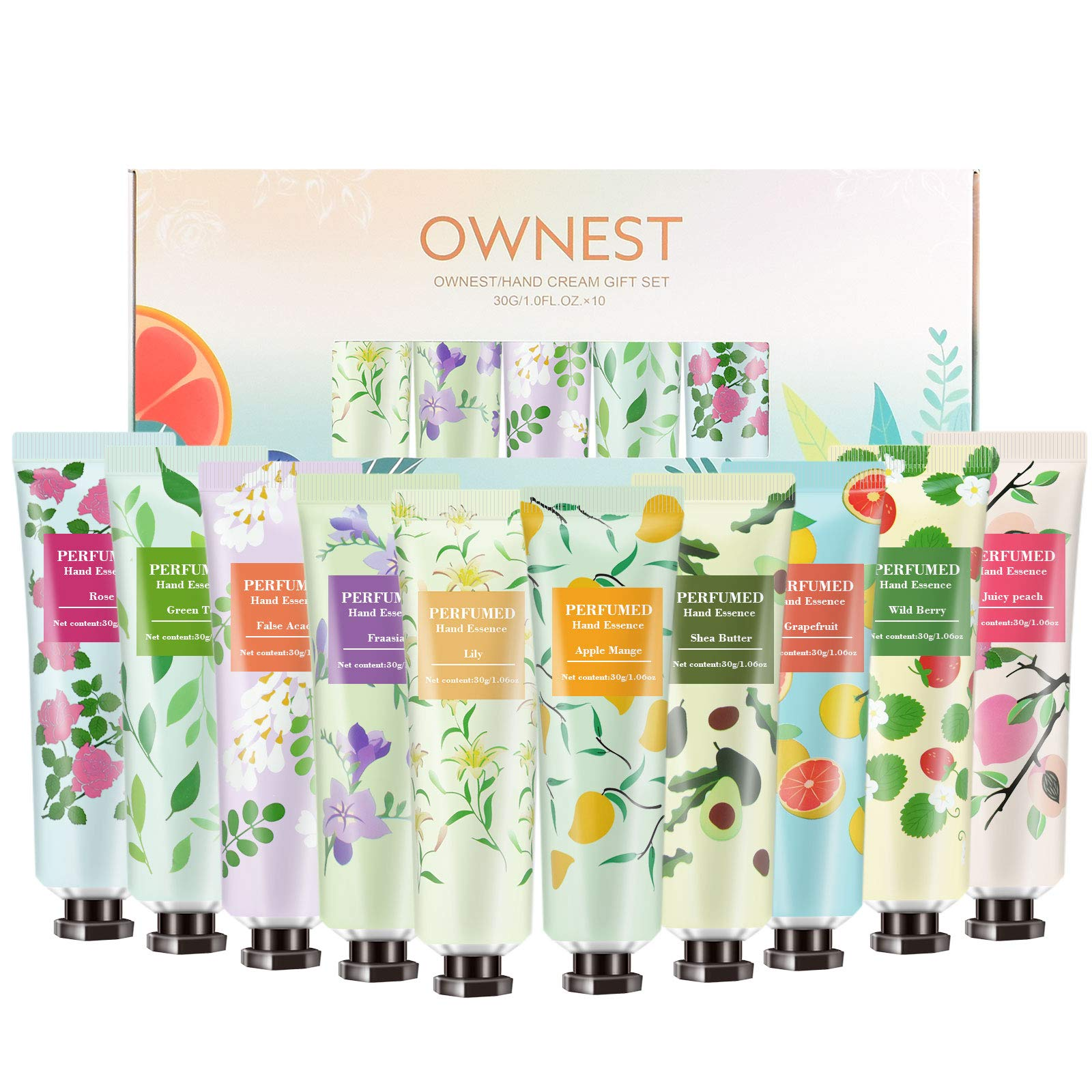 Ownest 10 Pack Fruits Fragrance Hand Cream,Moisturizing Hand Care Cream Travel Gift Set with Shea Butter For Men And Women-30ml