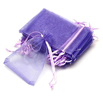 24 Unidades Bolsas de Organza Para Caramelos Violeta Uso ...