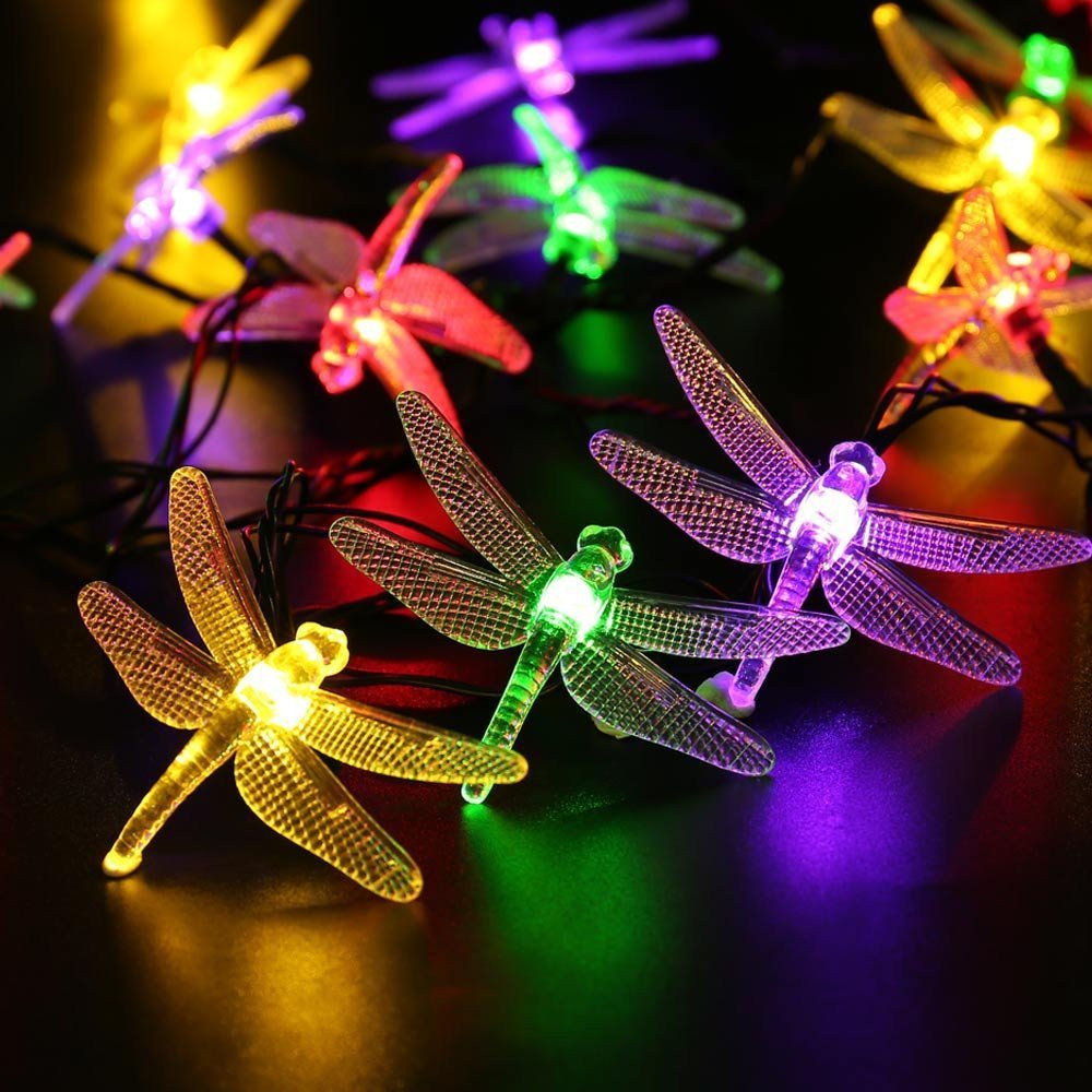 Hulorry Solar Christmas String Lights, Solar String Lights Outdoor Waterproof Solar Fairy String Lights Dragonfly Decorative Lighting for Patio Lawn Landscape Garden Home Wedding Holiday