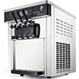 VEVOR Commercial Ice Cream Machine 5.3 to 7.4Gal per Hour Soft Serve with LED Display Auto Clean 3 Flavors Perfect for…