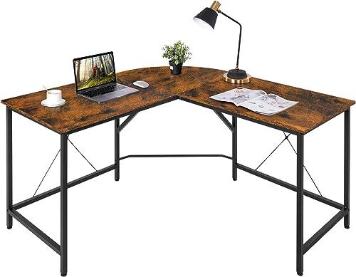 HOMFY L-Shaped Desk 55 Large Gaming Computer Desk Round Corner Writing Studying Workstation
