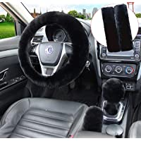Pinbola 5pcs in 1 Set Faux Wool Steering Wheel Cover Soft Fluffy Handbrake Cover & Gear Shift Cover & 2pcs Seat Belt…