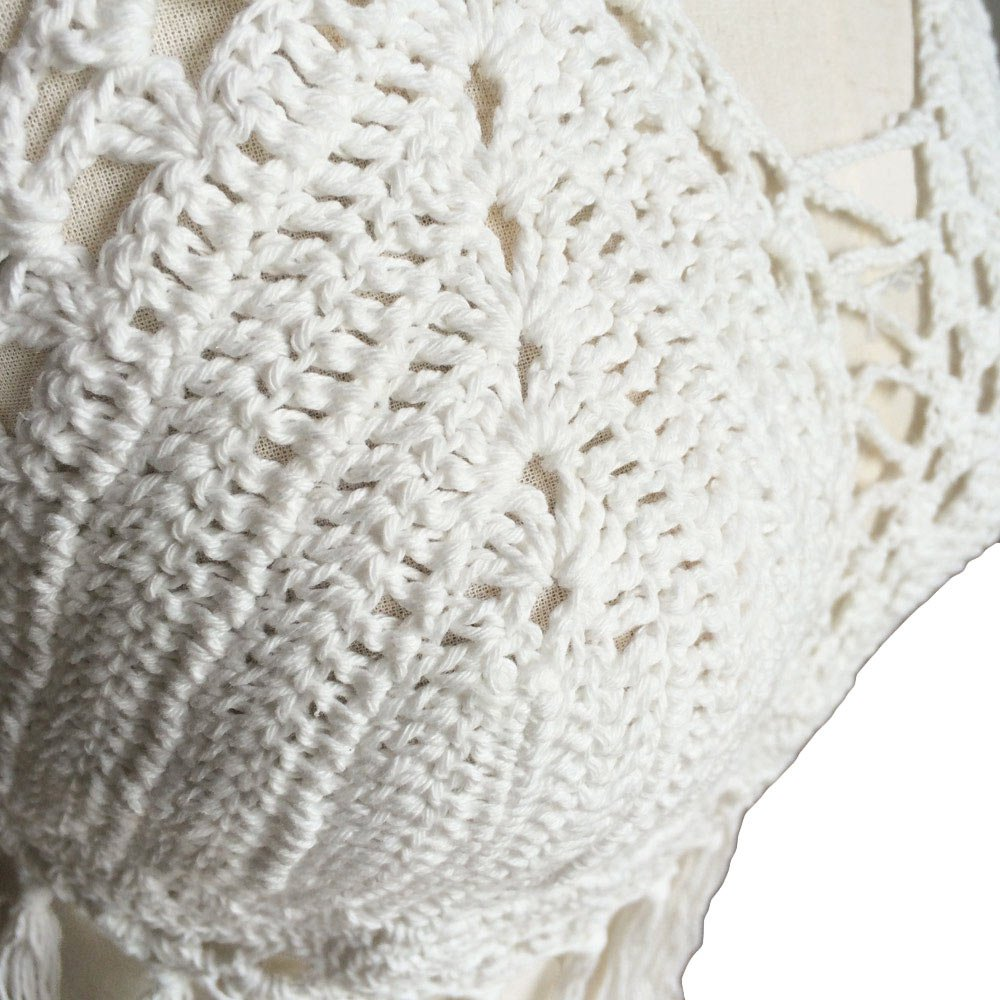 Fashion Women Sexy Boho Crop Top Cropped Halter Style Crochet Knitted Hollow Bra Beachwear color:White