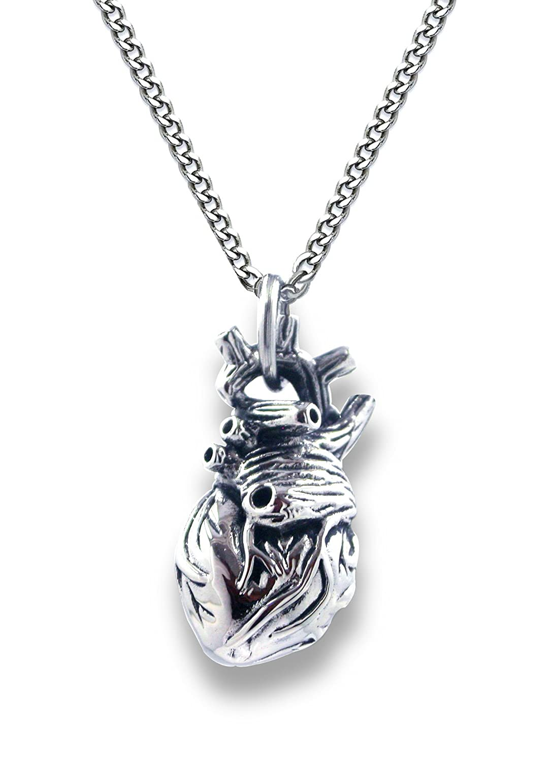 Amazon.com: Pearlina Anatomical Heart Necklace Man or Woman 3D ...