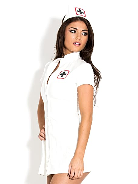 8971e6e42af Honour Women s Sexy Nurse Dress Uniform in PVC White with Medical Badge    Cap  Amazon.co.uk  Clothing
