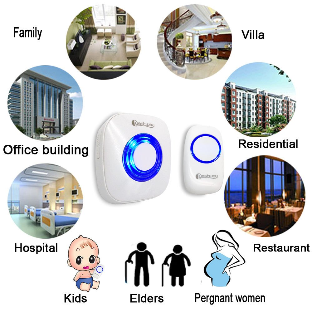 Portable Wireless Doorbell Ring Pager Push Button Remote Ring Bell Loud for Hearing Impaired Home Door Chime 1000ft Long Range Distance 52 Chord Music White by Guestway (Image #6)