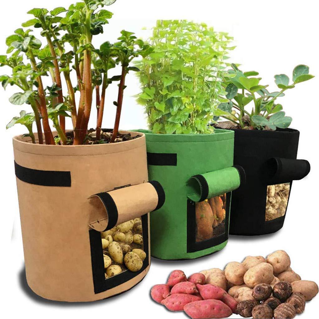 JDgoods Plant Grow Bags Nonwoven Cloth Pot Gardening Bag, Breathable Portable Potato Growing Bag Planter Bags Planting Pouch wfor Carrot Onion Vegetables Garden Home Farming (Green)