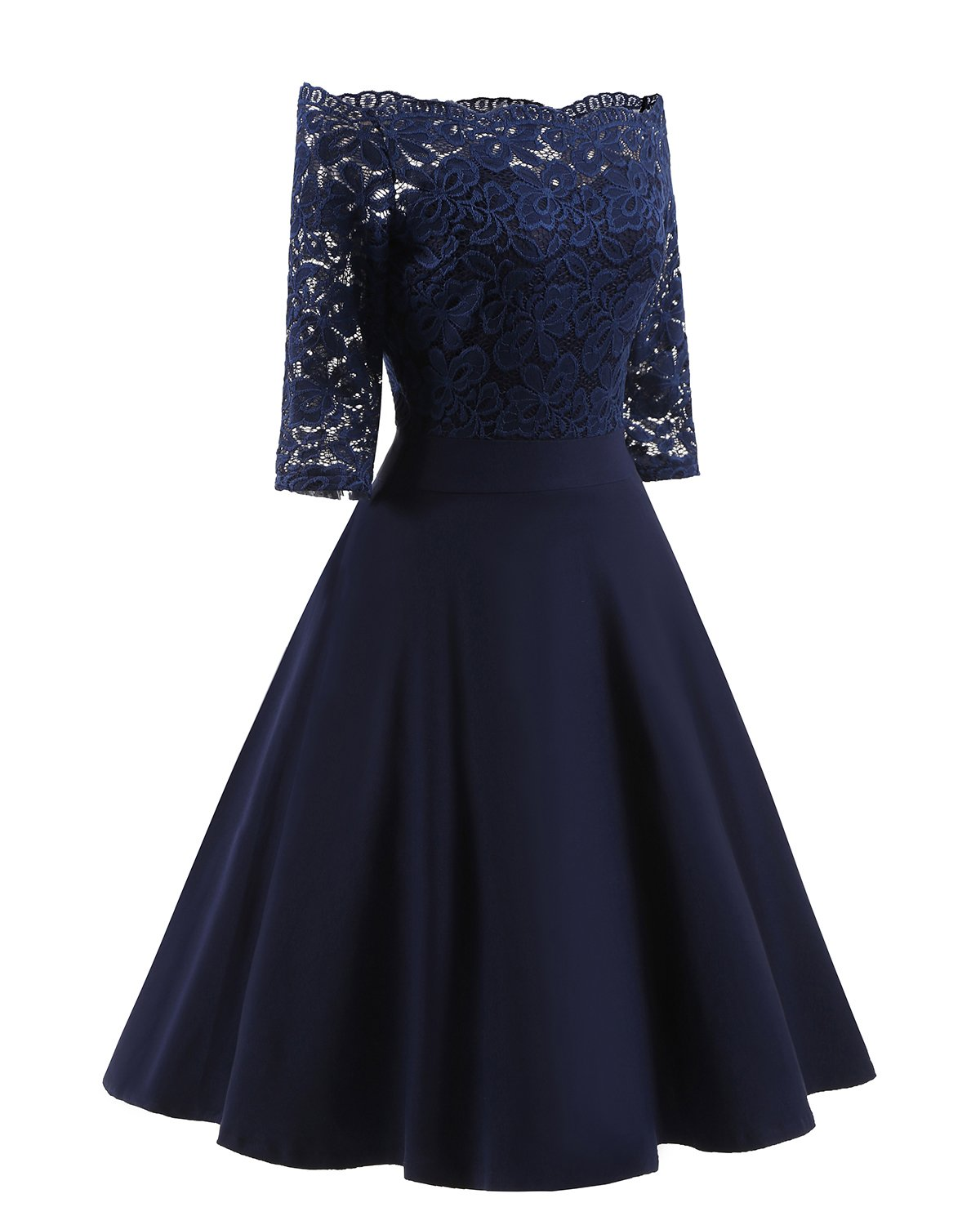 Women's Vintage Dresses Lace Floral Boat Neck 3/4 Long Sleeve Swing Dress A-Line Cocktail Party Prom (XL, Blue)