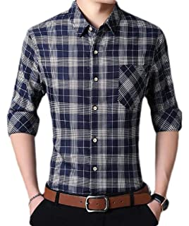 WAWAYA Mens Cotton Long Sleeve Plaid Button Up Dress Flannel Checkered Shirt