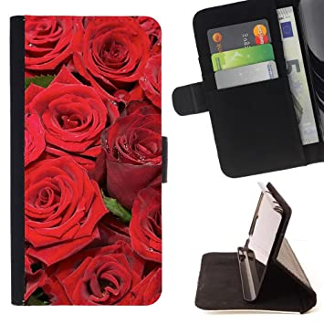 Graphic4You Ramo flores rosas rojas Cuero Carcasa Funda ...
