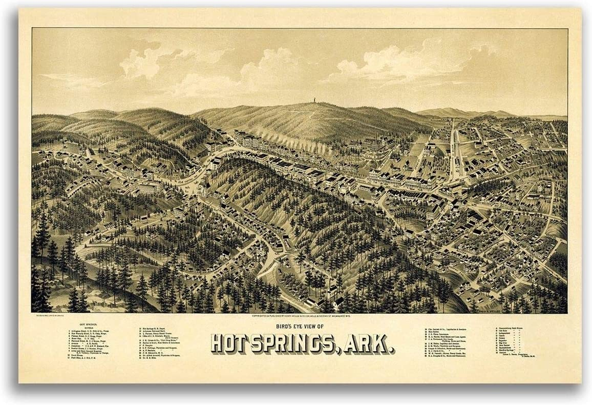 Old Map of Hot Springs Vintage Arkansas Art Historic Decor AR from 1888