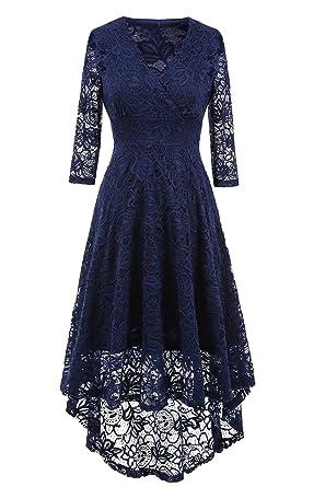 NALATI Spitzenkleid V-Ausschnitt 3/4 Ärmel Vintage Partykleid Asymmetrisch Festlich  Abendkleid Brautjungfern Kleid