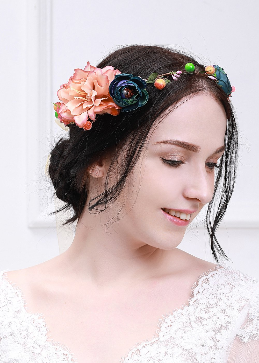 Amazon Kercisbeauty Rose Peony Crown Garland Wedding Hair