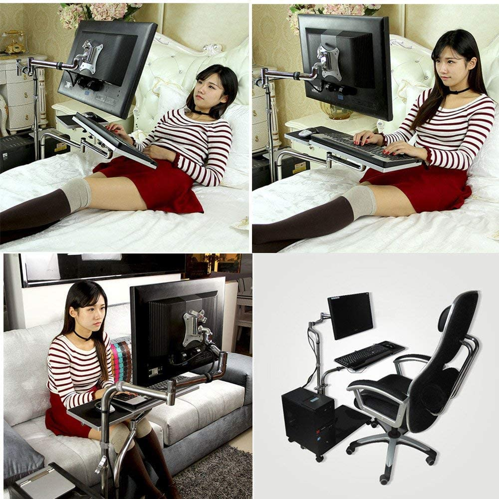 MagicHold Height Adjusting Sit Stand Computer,Monitor,Laptop,Tablet for Bed Office Stand Mount Workstation