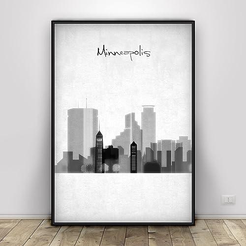 Amazon.com: Minneapolis black and white Print, Wall art, Minneapolis ...