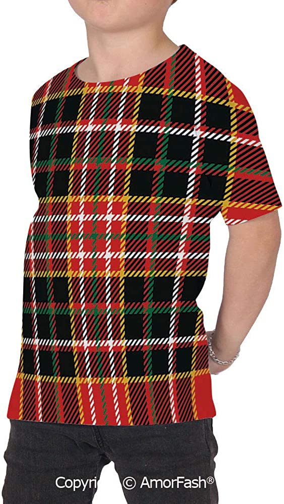 Red Plaid Boys and Girls All Over Print T-Shirt,Crew Neck T-Shirt,Vertical and H