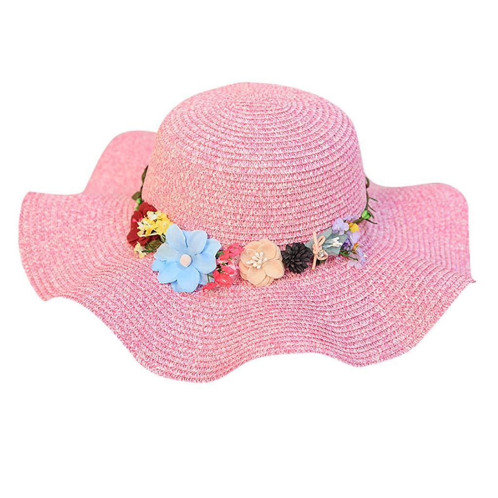 FEDULK Women Sun Beach Straw Hat Jazz Sunshade Big Wide Brim Elegant Panama Fedora Hat Wreath Cap(Hot Pink, One Size)