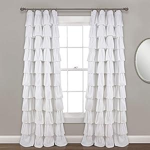 "Lush Decor, White Ruffle Window Curtain Panel, 95"" x 50"", 95"" L"