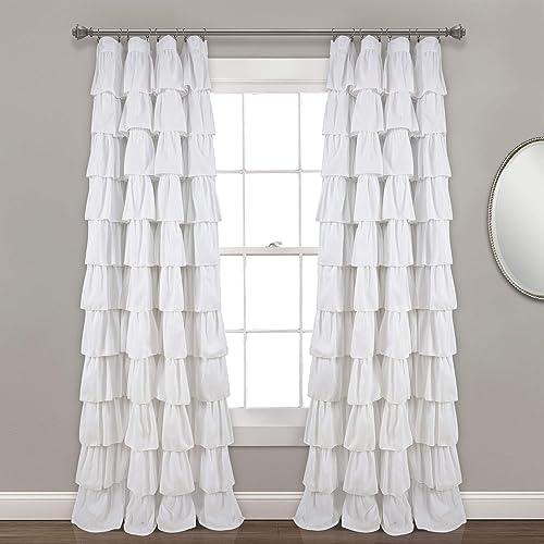 Lush Decor, White Ruffle Window Curtain Panel, 95 x 50 , 95 L